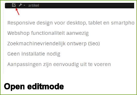 Kies voor het te editen tekstblok en click op de edit icon