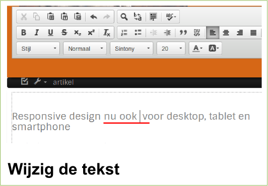 Flexwebplus wijzig de tekst in je design
